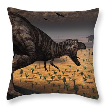 A Tyrannosaurus Rex Spots Two Passing Throw Pillow by Mark Stevenson