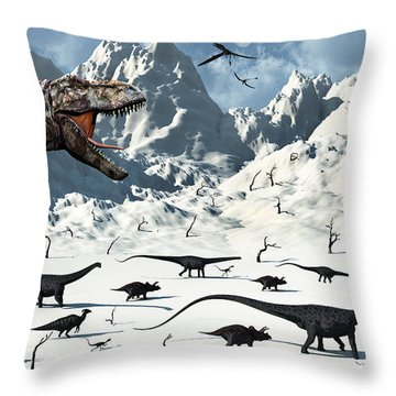A  Tyrannosaurus Rex Stalks A Mixed Throw Pillow by Mark Stevenson