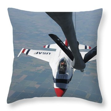 A U.s. Air Force Thunderbird Pilot Throw Pillow by Stocktrek Images