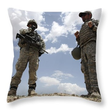 A U.s. Army Soldier Communicates Throw Pillow by Stocktrek Images