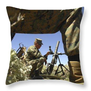 A U.s. Marine Mortarman Trains On An Throw Pillow by Stocktrek Images