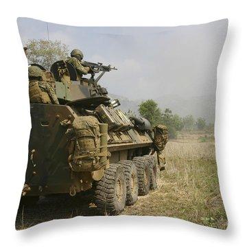 A U.s. Marine Uses An M-240b Machine Throw Pillow by Stocktrek Images