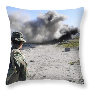 A U.s. Navy Student In Basic Underwater Throw Pillow by Stocktrek Images