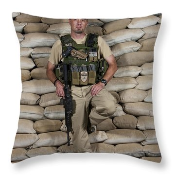 A U.s. Police Officer Contractor Leans Throw Pillow by Terry Moore