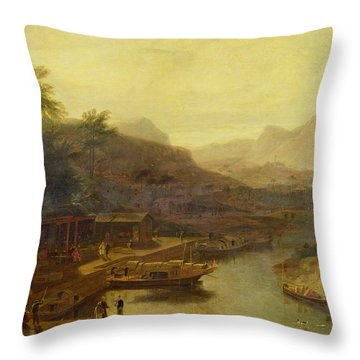 A View In China - Cultivating The Tea Plant Throw Pillow by William Daniell