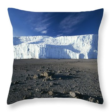 A View Of Mount Kilimanjaros Summit Throw Pillow by David Pluth