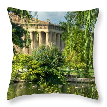 A View Of The Parthenon 13 Throw Pillow by Douglas Barnett