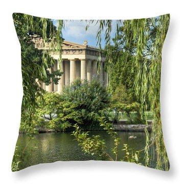 A View Of The Parthenon 5 Throw Pillow by Douglas Barnett
