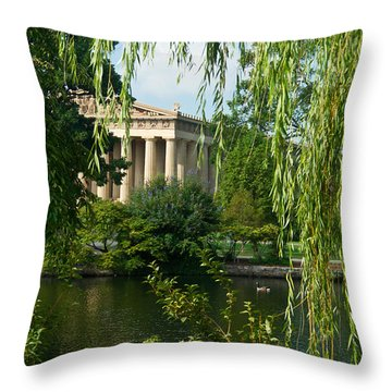 A View Of The Parthenon 9 Throw Pillow by Douglas Barnett