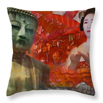 A Vision Of The History Of Japan  Throw Pillow