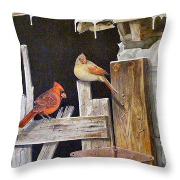 A Visit To Daddy's Barn  Sold Throw Pillow