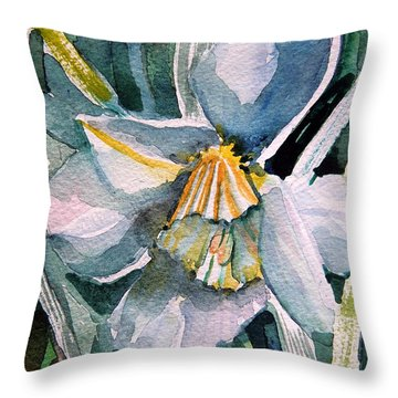 A Weepy Daffodil Throw Pillow by Mindy Newman