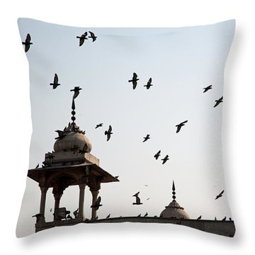 Throw Pillow featuring the photograph A Whole Flock Of Pigeons On The Top Of The Ramparts Of The Red Fort In New Delhi by Ashish Agarwal