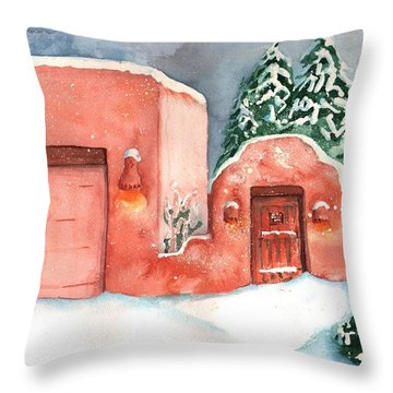 Throw Pillow featuring the painting A Winter Clad Santa Fe by Sharon Mick