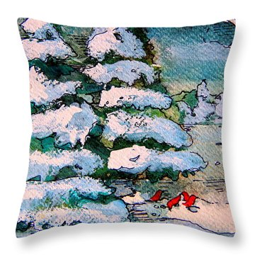 A Winter Feast Throw Pillow by Mindy Newman