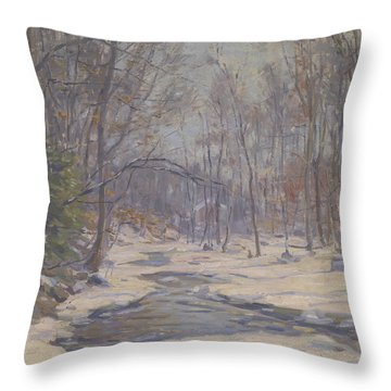 A Winter Morning  Throw Pillow by Frank Townsend Hutchens