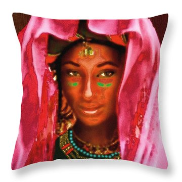 Throw Pillow featuring the painting A Wodaabe Bride by Jann Paxton