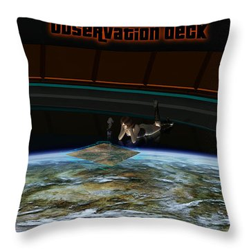 A Woman Studies The World Throw Pillow by Frieso Hoevelkamp