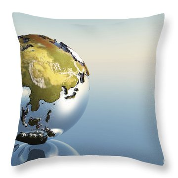 A World Globe Showing The Continents Throw Pillow by Corey Ford