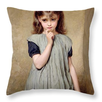 A Young Girl In The Classroom Throw Pillow by Charles Sillem Lidderdale
