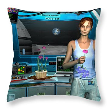 A Young Radio Astronomer Stationed Throw Pillow by Walter Myers
