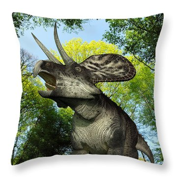 A Zuniceratops Wanders A Cretaceous Throw Pillow by Walter Myers