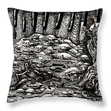 Aaron Battles The Ogre Throw Pillow by Al Goldfarb