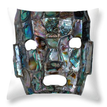 Throw Pillow featuring the photograph Abalone Mayan Mask by Shawn O'Brien