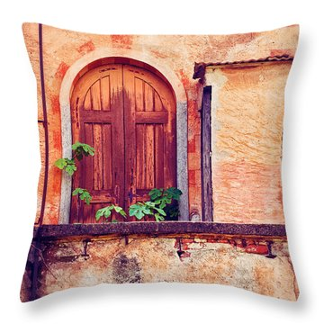 Abandoned Building Door With Leaves Throw Pillow by Silvia Ganora