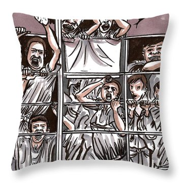 Abandoned Building Playground In The Bronx  Nyc Throw Pillow by Al Goldfarb