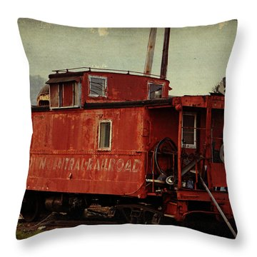 Abandoned Caboose Throw Pillow