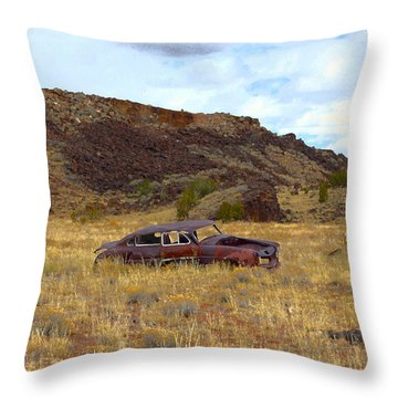 Throw Pillow featuring the photograph Abandoned Car by Steve McKinzie
