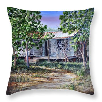 Throw Pillow featuring the painting Abandoned House by AnnaJo Vahle