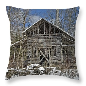 Abandoned House In Snow Throw Pillow by Susan Leggett