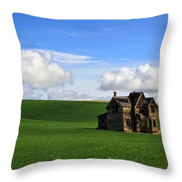 Abandoned House On Green Pasture Throw Pillow by Steve McKinzie