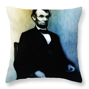 Abe Lincoln Seated Throw Pillow by Bill Cannon