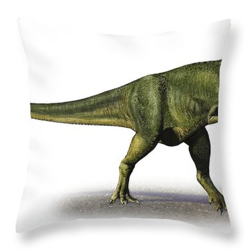 Abelisaurus Comahuensis, A Prehistoric Throw Pillow by Sergey Krasovskiy
