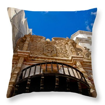 Above The Front Entry San Xavier Mission Throw Pillow by Jon Berghoff