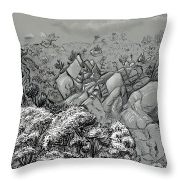 Above The Treetops Field Sketch Throw Pillow by Dawn Senior-Trask