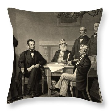 Throw Pillow featuring the photograph Abraham Lincoln At The First Reading Of The Emancipation Proclamation - July 22 1862 by International  Images