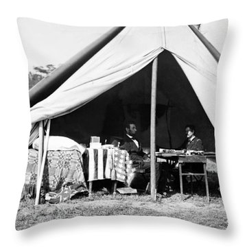 Throw Pillow featuring the photograph Abraham Lincoln Meeting With General Mcclellan - Antietam - October 3 1862 by International  Images