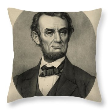 Throw Pillow featuring the photograph Abraham Lincoln Portrait by International  Images