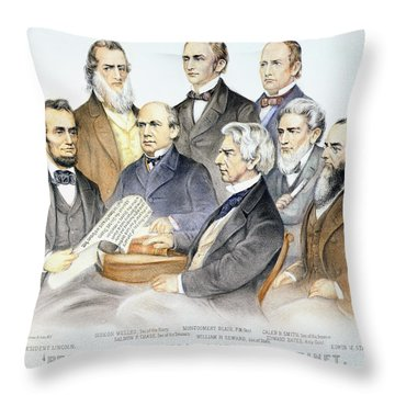 Abraham Lincolns Cabinet Throw Pillow by Granger