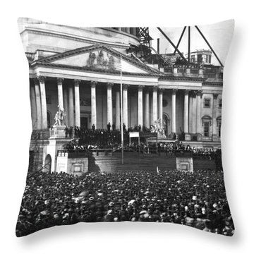 Throw Pillow featuring the photograph Abraham Lincolns First Inauguration - March 4 1861 by International  Images
