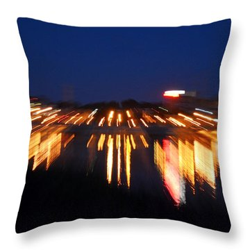 Abstract - City Lights Throw Pillow by Sue Stefanowicz