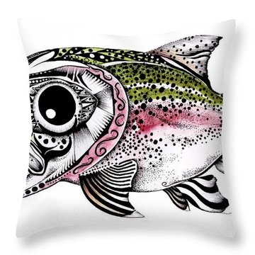 Abstract Alaskan Rainbow Trout Throw Pillow by J Vincent Scarpace