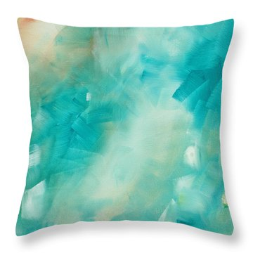 Abstract Art Colorful Bright Pastels Original Painting Spring Is Here II By Madart Throw Pillow by Megan Duncanson