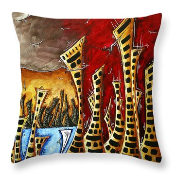 Abstract Art Contemporary Coastal Cityscape 3 Of 3 Capturing The Heart Of The City II By Madart Throw Pillow by Megan Duncanson