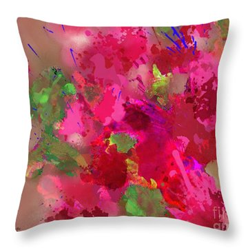 Abstract Bougainvillea Painting Floral Wall Art Throw Pillow by Judy Filarecki