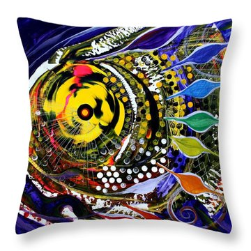 Abstract Busy Bee Fish Throw Pillow